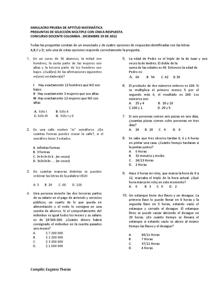 Simulacro prueba aptitud matem tica concurso docente colombia for Concurso docentes
