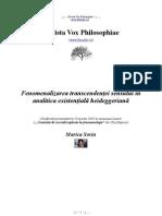 [Vox Philosophiae] Marica Sorin Fenomenalizarea Transcendenţei Sensului în analitica existenţială heideggerian