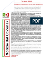 Newsletter di OTTOBRE 2012 del Gruppo Consiliare PD di Zona 7-Milano