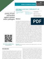 In-vitro Screening of antibacterial activity of lactic acid bacteria against common enteric pathogens