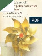 KOLAKOWSKI Leszek Las Principales Corrientes Del Marxismo II La Edad de Oro Alianza 1977 263pp MyF