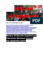 Noticias Uruguayas lunes 31 de diciembre del 2012