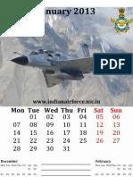 Indian Air Force [IAF] Themed Calendar for 2013