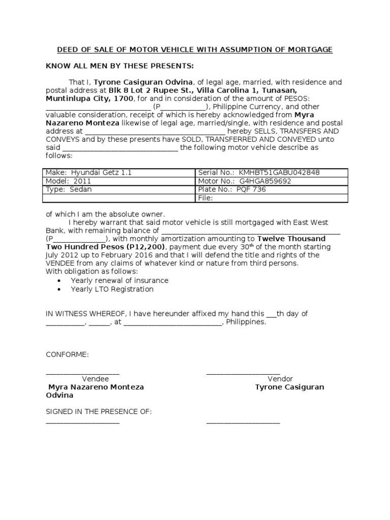 deed of sale of motor vehicle with assumption of mortgage