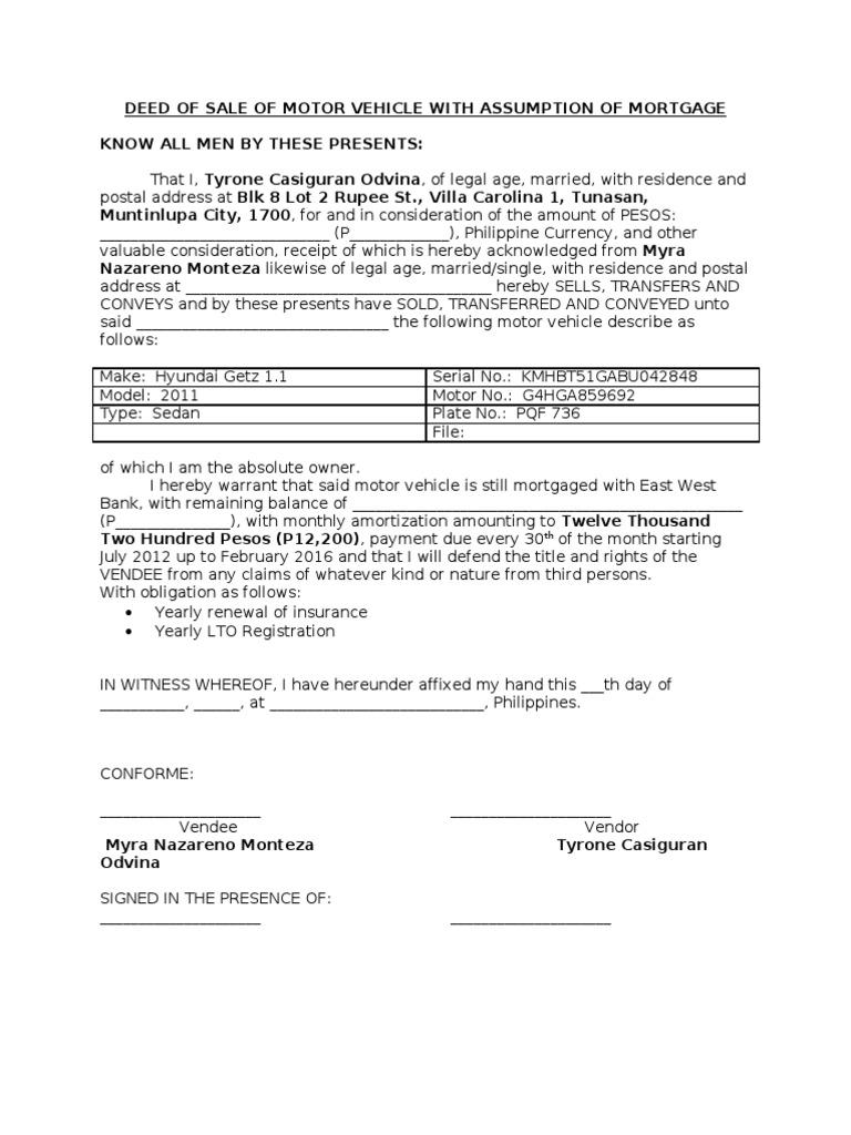 sample deed of sale of motor vehicle