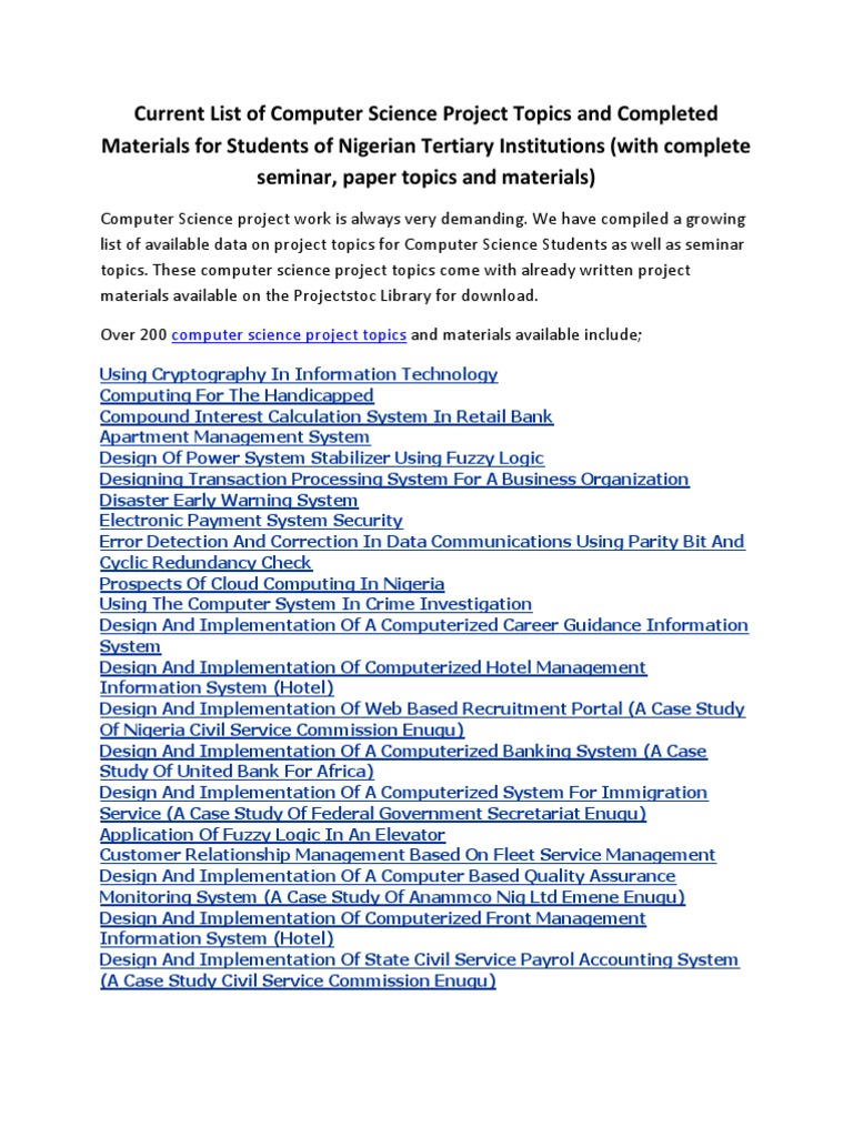 Computer Science Project Topics and Complete Materials