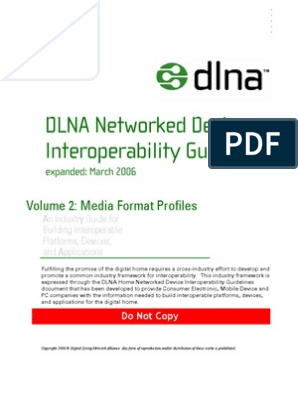 DLNA Networked Device Interoperability Guidelines: Media Format