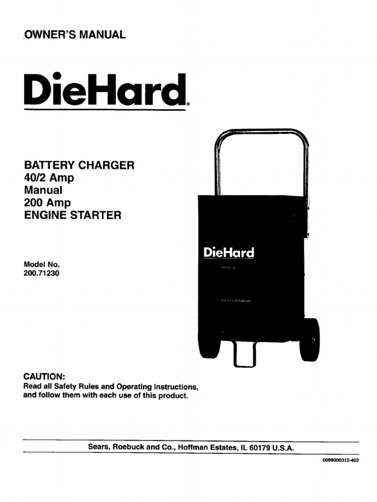 Sears Diehard Battery Charger Owner's Manual - Model 200-71230 | Battery  Charger | Battery (Electricity)