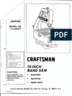 Sears Craftsman 10-inch Band Saw Owner's Manual