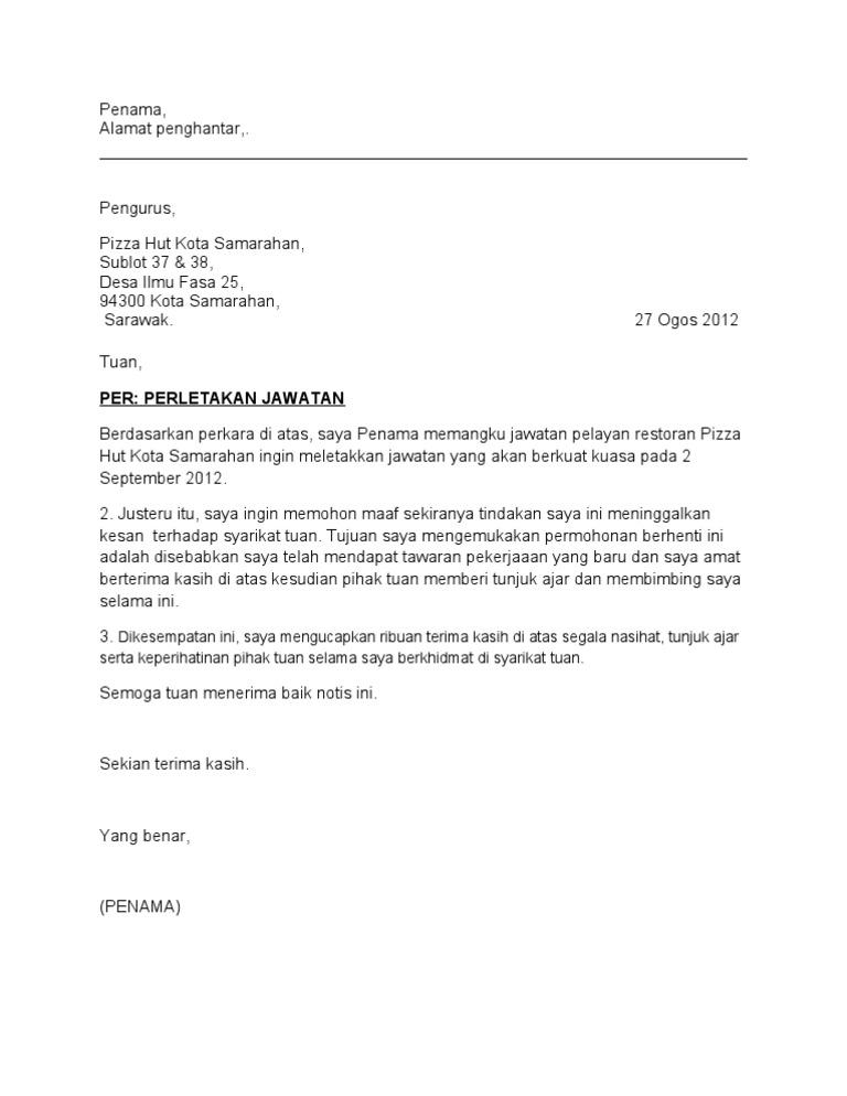 Contoh Surat Rasmi Notis Berhenti Kerja Seminggu Surat R