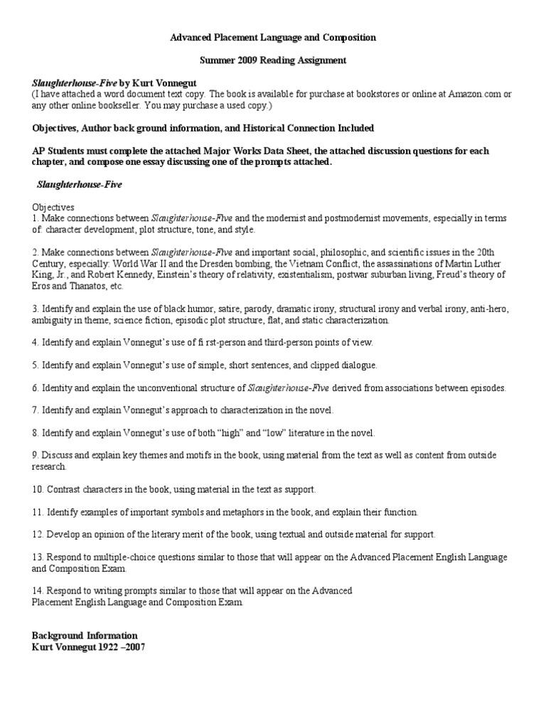 Slaughterhouse Five Summer Assignment Kurt Vonnegut – Freytag Pyramid Worksheet