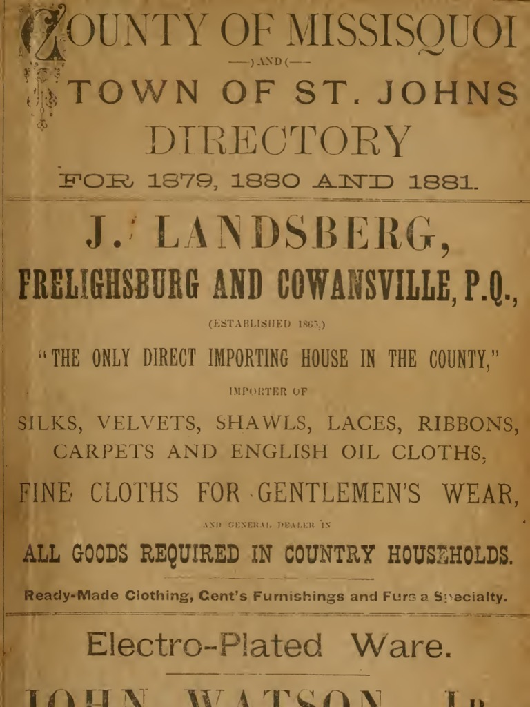 County of Missisquoi and Town of St. Johns directory for 1879 | College