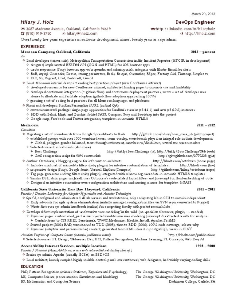 hilary u0026 39 s one page devops engineer resume