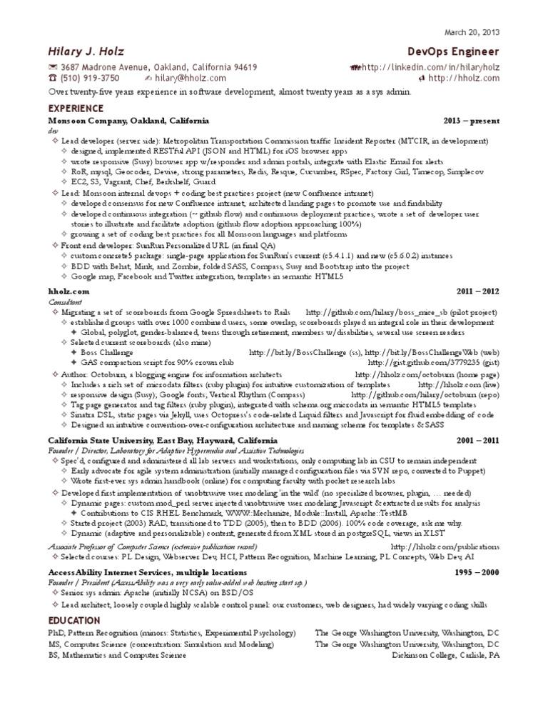 hilary s one page devops engineer resume java script world wide web