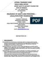 INSURANCE OF ASSETS AND PERSONNEL - LEGAL AND STATUTORY FRAMEWORK