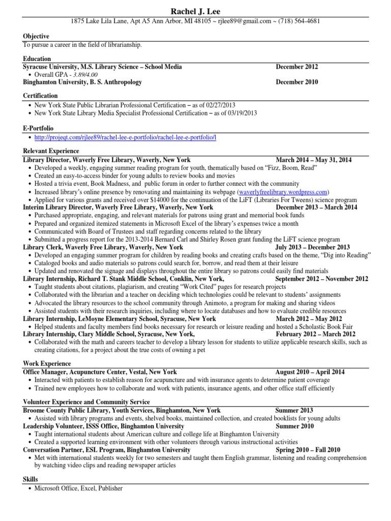Rachel Lee - Resume | Libraries | Library Science