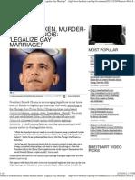 Obama to Debt-Stricken, Murder-Ridden Illinois 'Legalize Gay Ma