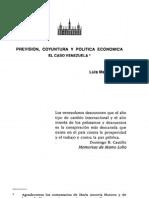 PREVISION, COYUNTURA Y POLlTICA ECONOMICA