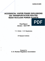 Accidental Vapor Phase Explosions on Transportation Routes Near Nuclear Power Plants