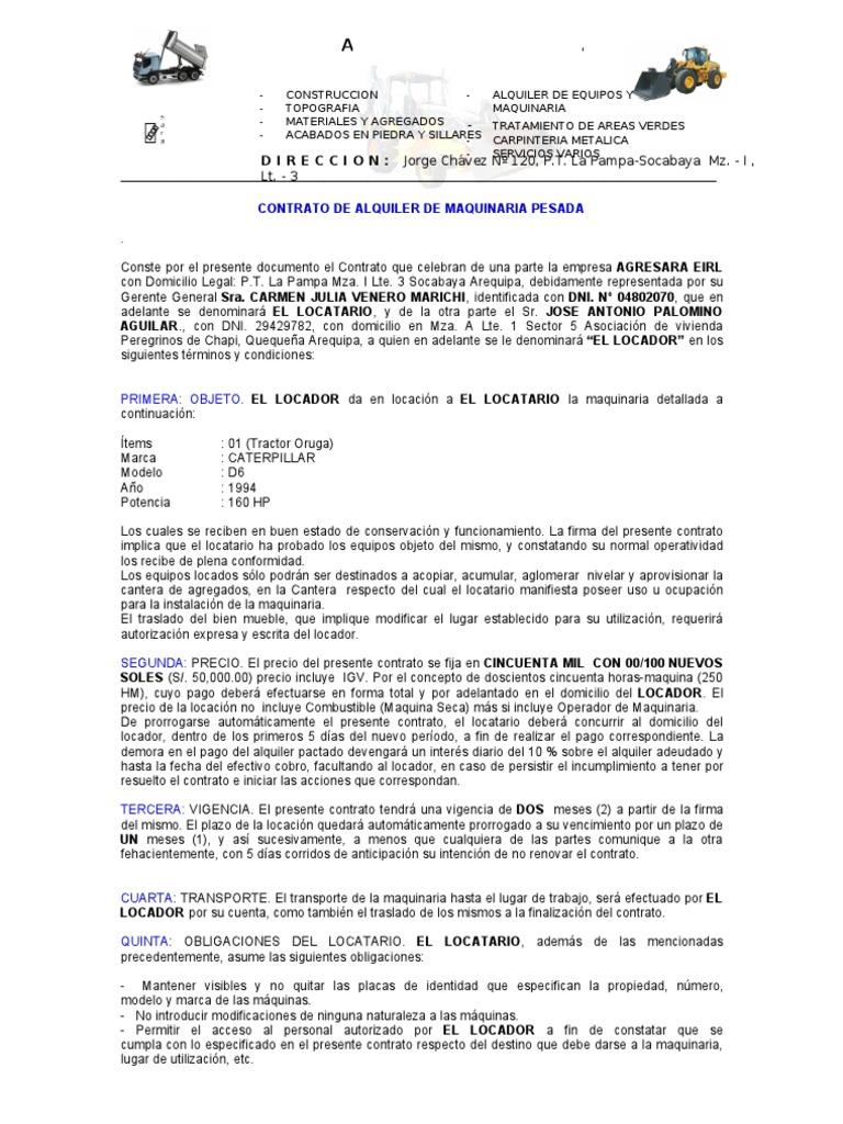 Modelo contrato maquinaria pesada for Modelo contrato laboral
