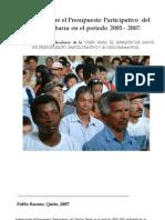 Análisis sobre el Presupuesto Participativo  del Cantón Ibarra en el período 2005 - 2007, Pablo Barone 2007