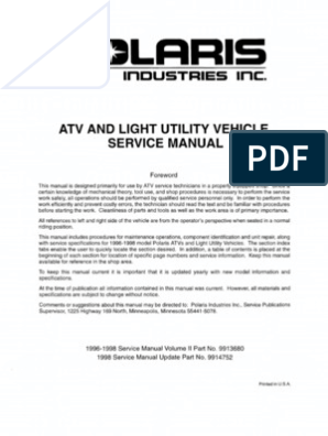 Polaris ATV Service Manual 1996 - 1998 All Models ... on