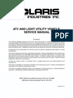 Polaris ATV Service Manual 1996 - 1998 All Models ... on 99 polaris xplorer wiring diagram, 99 polaris magnum 500 wiring diagram, 99 yamaha big bear 350 wiring diagram, 99 polaris scrambler wiring diagram,