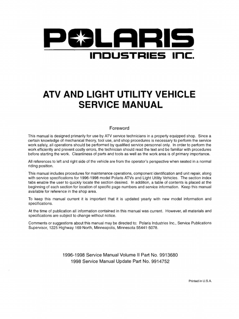 Polaris Atv Service Manual 1996 1998 All Models Suspension John Deere 4040 Ignition Wiring Diagram Vehicle Gallon