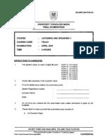 Final Exam Paper Listening n Speaking 1 ( TESL )