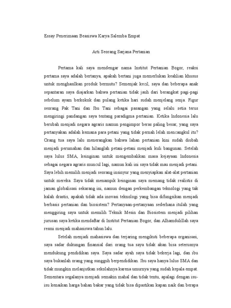 contoh essay untuk beasiswa kse