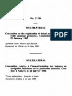 Convención relativa a la matriculación de buques de navegación interior. Ginebra, 25 de enero de 1965