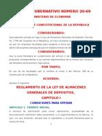 Reglamento de La Ley de Almacenes Generales de Deposito