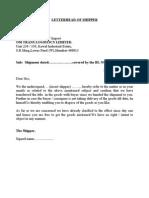 Shipper Letter