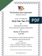 Karen New Year Invitation 2013 - Eng Version