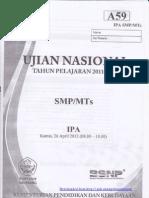 Pembahasan Soal UN IPA SMP 2012 (Paket A59)