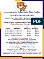 KCHS 5th Annual Jr. Tiger Fun Run Flyer Announcing Parents 3K