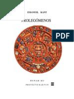48078937 Emanuel Kant Prolegomenos a Toda Metafisica Futura Prolegomena Zu Einer Jeden Kunftigen Metaphysik 1783
