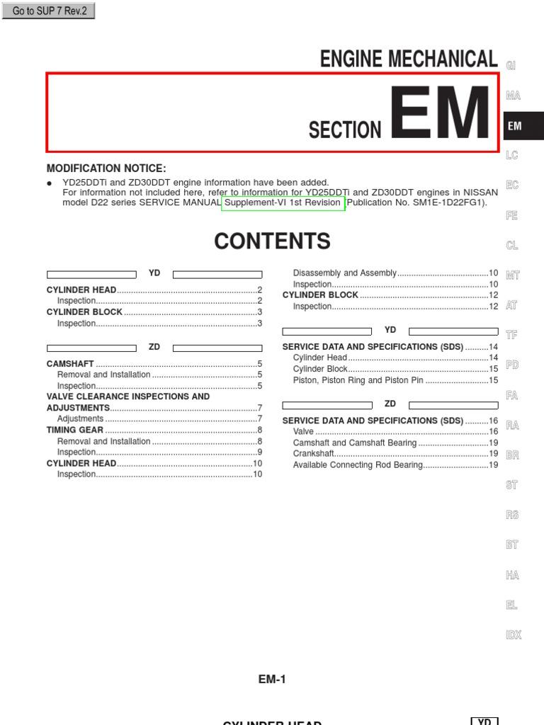 yd25ddti and zd30ddt engines in nissan repair manuals cylinder rh scribd com Nissan Repair Guide Nissan Pathfinder Repair Manual