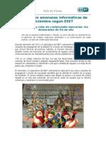 Principales amenazas informáticas de diciembre según ESET