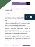 Licenziamenti collettivi e dirigenti - La Commissione Europea bacchetta l'Italia