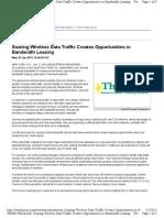 Soaring Wireless Data Traffic Creates Opportunities in Bandwidth Leasing