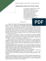 LA DOCTRINE DES APPROPRIATIONS SELON S. THOMAS D'AQUIN