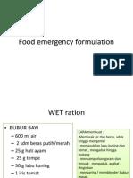 Food Emergency Formulation