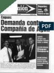 """Portada del Periodico La Opinión """"Demanda contra Compañía de Agua"""","""