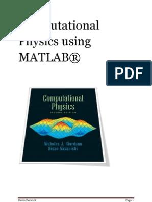 Computational Physics Using MATLAB | Orbit | Ordinary Differential