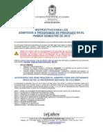 Instructivo Para Los Admitidos a Programas de Pregrado en El Primer Semestre de 2013