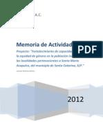 Memoria-Etnia Xi'ui, 'Equidad de Genero' 2012