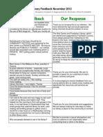 Frankston Library customer feedback November 2012