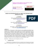 Design of Power Efficient 4x4 Array Multiplier Using Adiabatic Logic