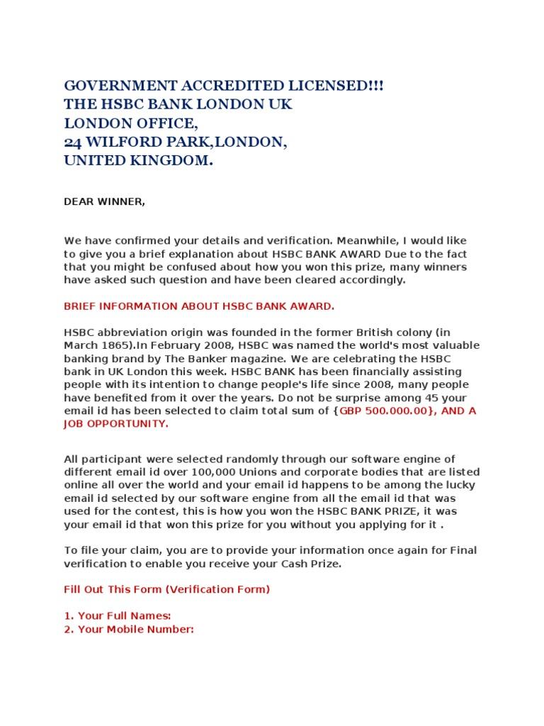 hsbc bank london fraud | Hsbc | Email